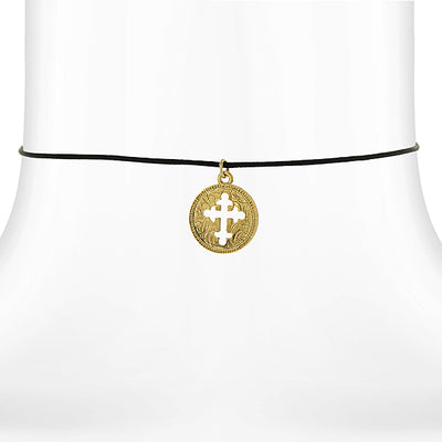 14K Gold Dipped Cross Medal Pendant Necklace On Satin Cord 14 Adj.
