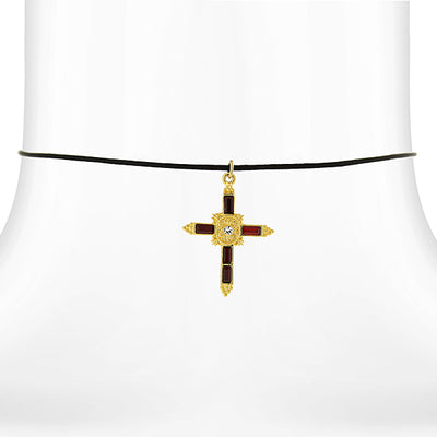 14K Gold Dipped Red Crystal Cross Pendant Necklace On Satin Cord 14 Adj.