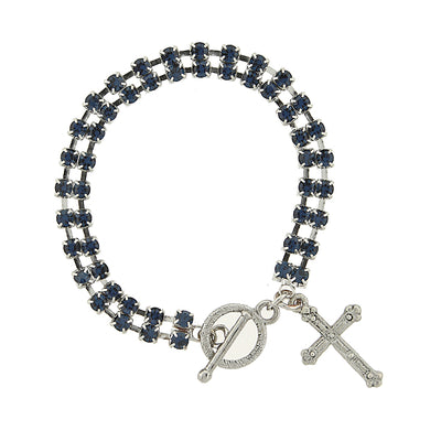 Silver Tone Dark Blue Rhinestone Crystal Cross Drop Toggle Bracelet