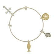 Two Tone Cross, Flag And Fish Charm Bangle Bracelet