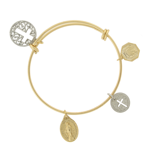 Two Tone Cross Medals Charm Bangle Bracelet