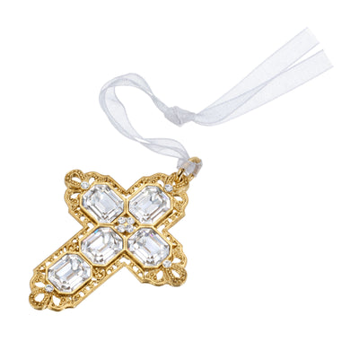Crystal Clear Swarovski Cross With Ribbon Ornament