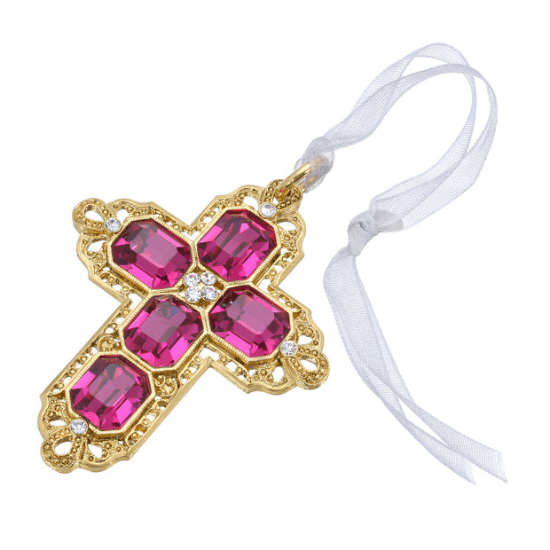 Purple Swarovski Crystal Cross With Ribbon Ornament