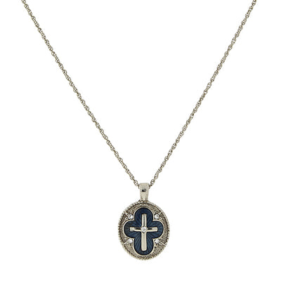 Silver-Tone Crystal And Blue Enamel Cross Pendant Necklace 16 - 19 Inch Adjustable