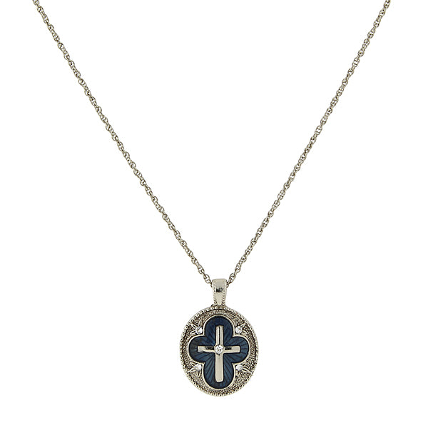 Silver-Tone Crystal and Blue Enamel Cross Pendant Necklace 16 In Adj