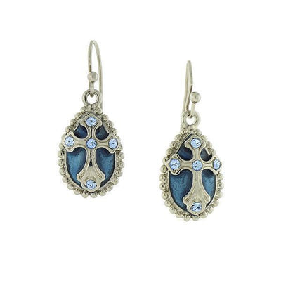 Silver-Tone Blue Crystal And Enamel Cross Drop Earrings