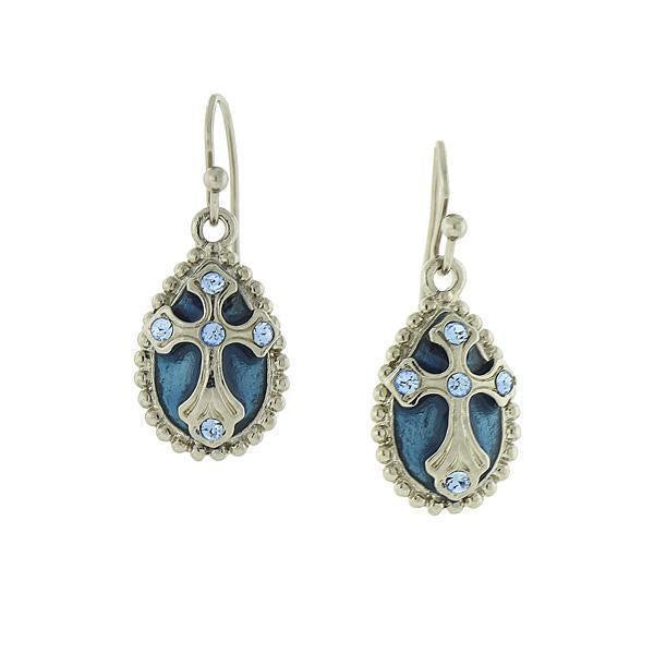Silver Tone Blue Crystal And Enamel Cross Drop Earrings