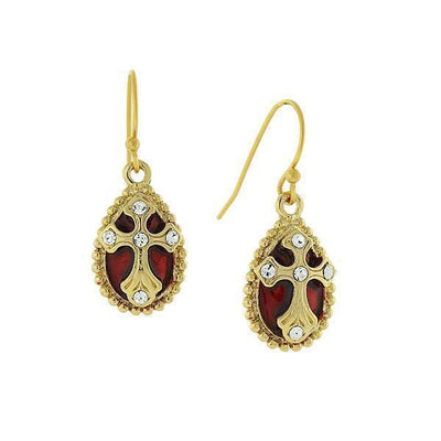14K Gold Dipped Crystal Red Enamel Cross Drop Earrings