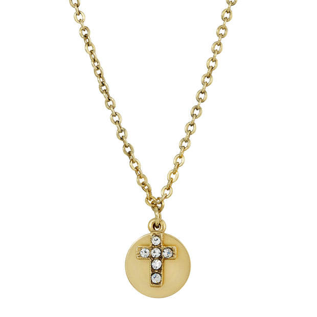14K Gold Dipped Carded Crystal Cross Round Disc Necklace 16 - 19 inch Adjustable