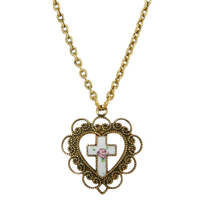 1928 Jewelry 14K Gold Dipped Heart With White Floral Cross Necklace 16 - 19 Inch Adjustable
