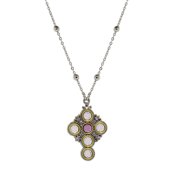 Pewter Cross Silver Tone Chain Lt & Dk Purple Round Crystals Necklace 16 In Adj