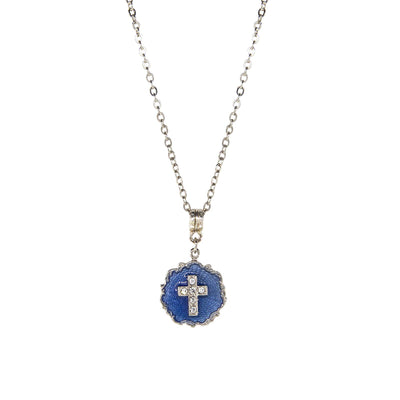 Silver Tone Blue Enamel Crystal Cross Round Necklace 16 - 19 Inch Adjustable