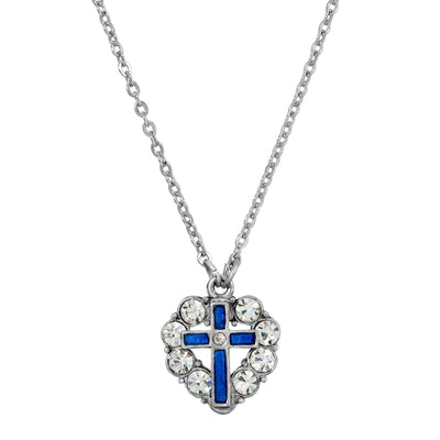 Symbols Of Faith Pewter Blue Enamel Cross Crystal Heart Necklace 16 - 19 Inch Adjustable