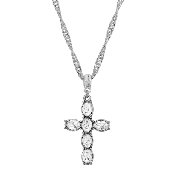 Crystal Clear Pewter Cross Silver Tone Twisted Necklace 20 Inch