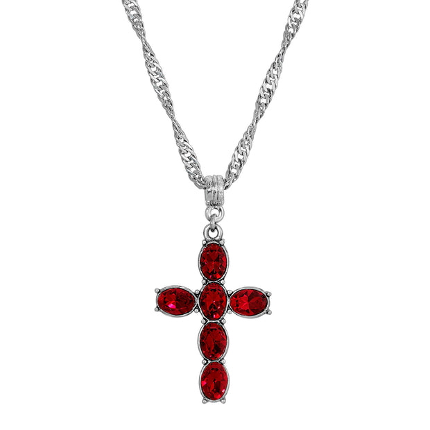 Red Crystal Clear Pewter Cross Silver Tone Twisted Necklace 20 Inch