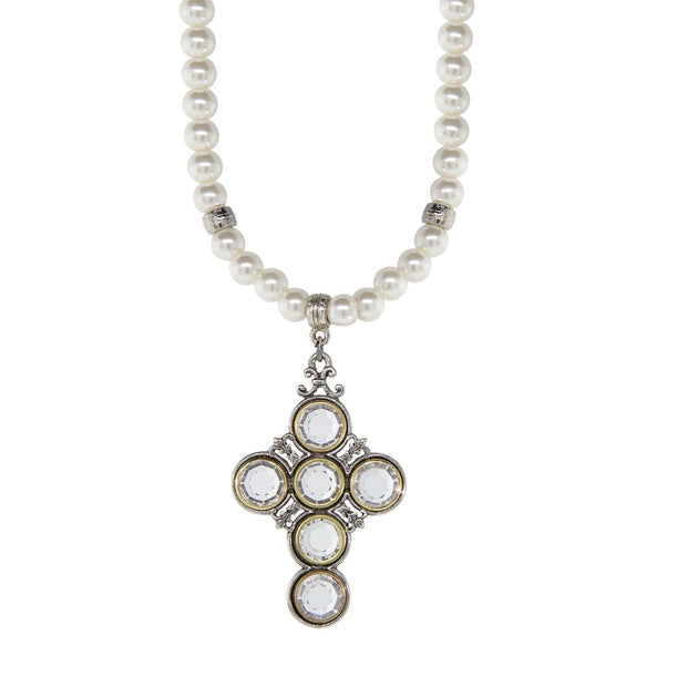 Pewter Crystal Cross Costume Pearl Necklace 15 In Adj