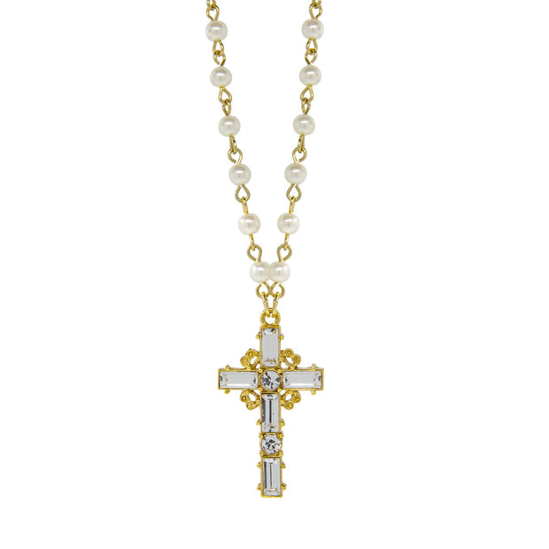 Crystal Cross Faux Pearl Necklace