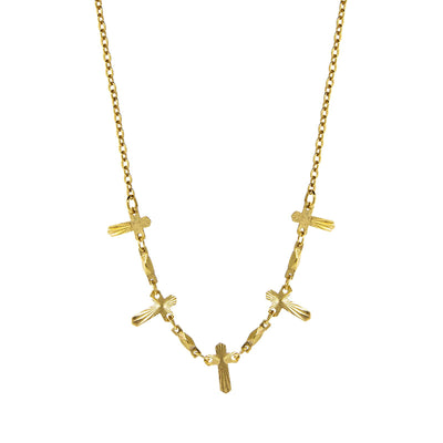 Multi Cross Chain Necklace 16   19 Inch Adjustable