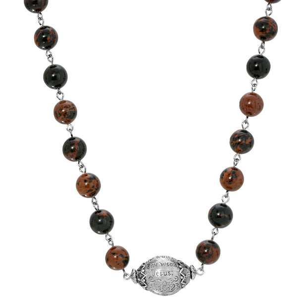 Brown Obsidian Silver Tone Hail Mary Beaded Prayer Necklace 15 - 18 Inch Adjustable