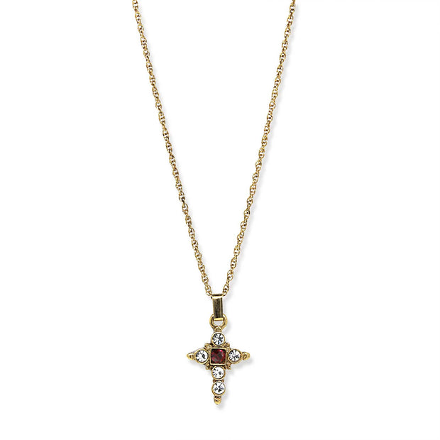 1928 Jewelry 14K Gold Dipped Dark Red and Crystal Cross Pendant Necklace 16  Adj.