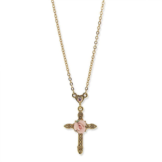 14K Gold Dipped Crystal Pink Porcelain Rose Cross Necklace 16 - 19 Inch Adjustable