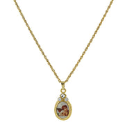 Symbols Of Faith 14K Gold-Dipped Cherub Crystal Angel Decal Oval Pendant Necklace 18 Inches
