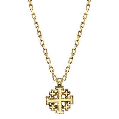 14K Gold Dipped JerUSAlem Cross Pendant Necklace 18
