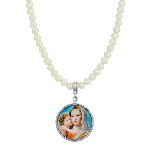 Cultura Pearl Round Mary and Child Pendant Necklace  15 - 18 Inch Adjustable