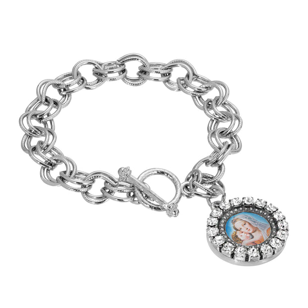 Round Crystal Mary and Child Charm Toggle Bracelet