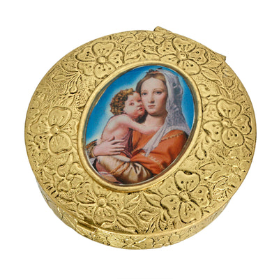 14K Gold Dipped Round Blue Mary and Child Pill Box