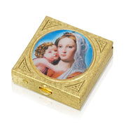 14K Gold Dipped Square Mother and Child Pillbox