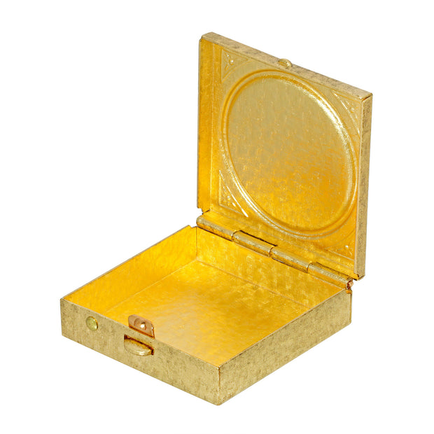 Inside 14K Gold Dipped Square Mother and Child Pillbox