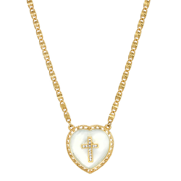 Symbols of Faith Gold Tone Mother of Pearl Heart Shaped with Cross Necklace 16 - 19 Inch Adjustable