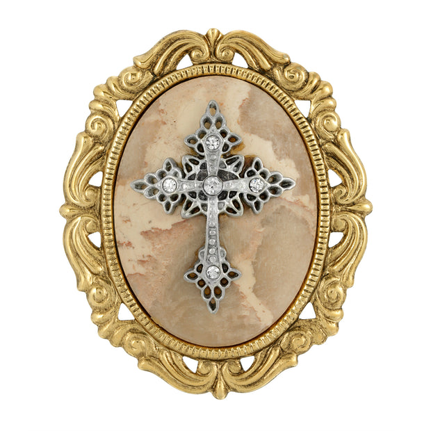 14K Gold Dipped Oval Pendant with Cross Brooch