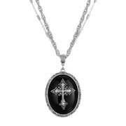 Black Multi Chain Oval Cross Pendant Necklace 18 -21 Inch Adjustable