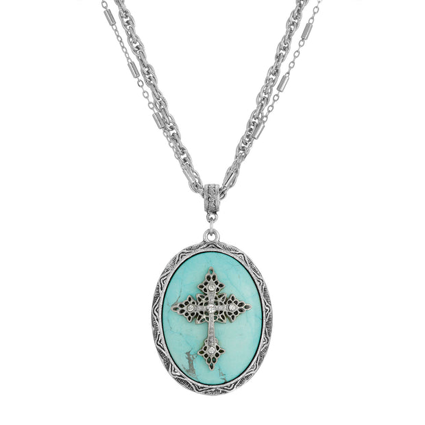 Turquoise Multi Chain Oval Cross Pendant Necklace 18 - 21 Inch Adjustable