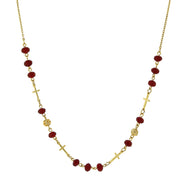 14K Gold-Dipped Red Beaded Cross Necklace 16 - 19 Inch Adjustable