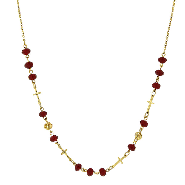 14K Gold-Dipped Red Beaded Cross Necklace 16 In Adj