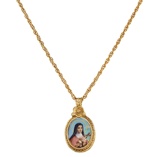 14K Gold-Dipped St. Therese Medallion Necklace 16 - 19 Inch Adjustable