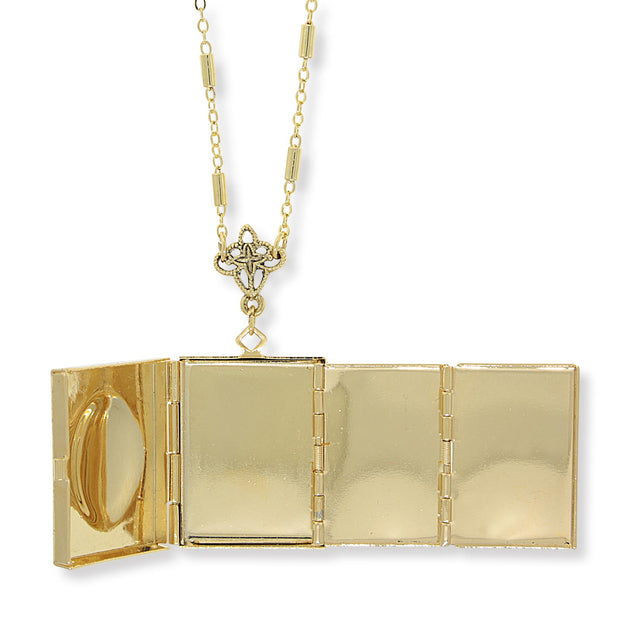 14K Gold Dipped Red Crystal Cross Square 4 Way Locket Necklace 30 In