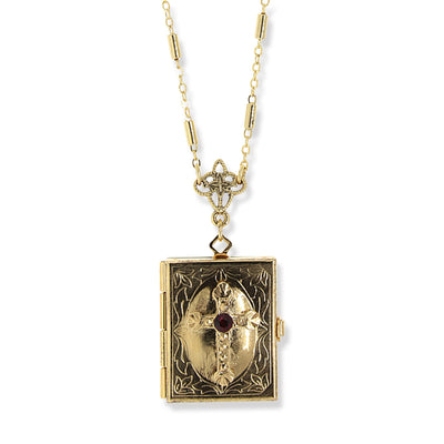 14K Gold Dipped Red Crystal Cross Square 4 Way Locket Necklace 30 In.