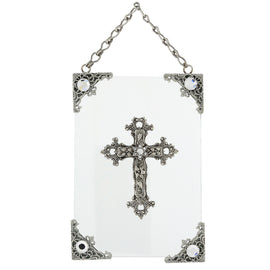 1928 Jewelry: Symbols of Faith - Symbols of Faith Silver-Tone Crystal Cross Wall Plaque