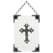 Silver-Tone And Crystal Hanging Glass Wall Or Window Plaque