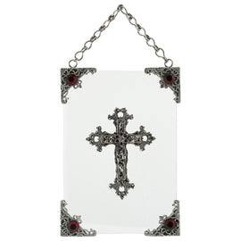 1928 Jewelry: Symbols of Faith - Symbols of Faith Silver-Tone Red Crystal Cross Wall Plaque
