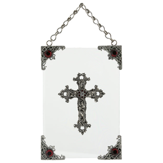 Symbols Of Faith Silver-Tone and Crystal Hanging Glass Wall or Window Plaque