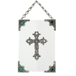 Symbols Of Faith Silver-Tone and Green Crystal Hanging Glass Wall or Window Plaque