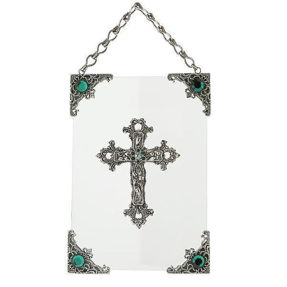 Silver-Tone and Green Crystal Hanging Glass Wall or Window Plaque