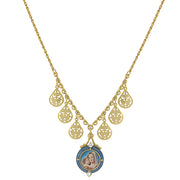 14K Gold-Dipped And Blue Enamel Pendant Necklace With Mary And Child Decal 16 Inch