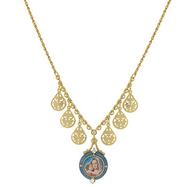 14K Gold-Dipped and Blue Enamel Pendant Necklace with Mary and Child Decal 16 In