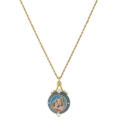 14K Gold-Dipped Blue Enamel Mary And Child Pendant Necklace 16 - 19 Inch Adjustable